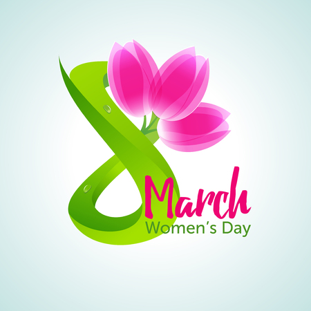 figure of eight: Green figure eight and a bouquet of three pink tulips, international womens day greeting card