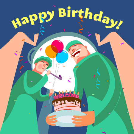obstetrician: Happy birthday greeting card. Vector illustration