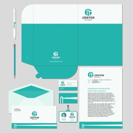 ide: Corporate identity template design with minimal lighthouse illustration