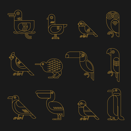 pigeon owl: Vector bird line style icons. Hairline geometric birds: duck, pigeon, sparrow, owl, cardinal bird, kiwi, toucan, parrot, crow, pelican, tit, penguin.
