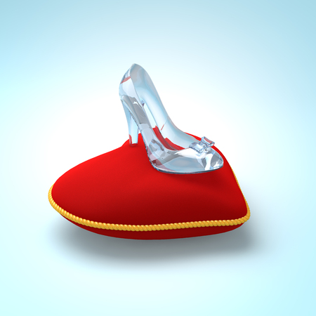pretty s shiny: Glass slipper on red heart pillow. Fashion background. Digital illustration. Beauty design element. Luxury shoes.