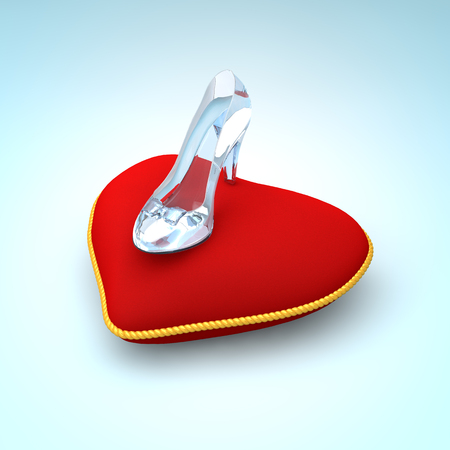 fashion shoes: Glass slipper on red heart pillow. Fashion background. Digital illustration. Beauty design element. Luxury shoes.