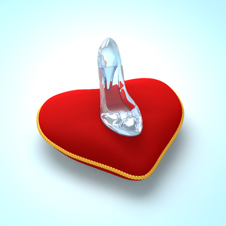 slipper: Glass slipper on red heart pillow. Fashion background. Digital illustration. Beauty design element. Luxury shoes.