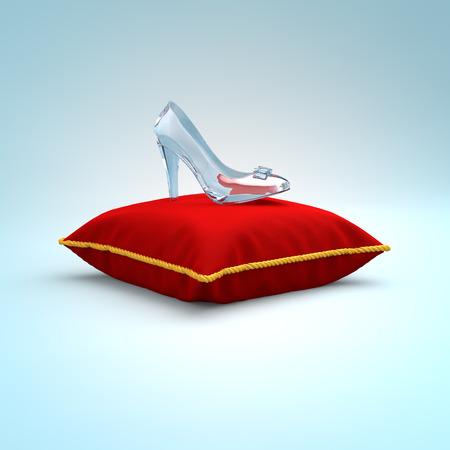빨간색 베개에 유리 구두. 패션 배경입니다. 디지털 그림. 뷰티 디자인 요소입니다. 고급 신발입니다. 스톡 콘텐츠