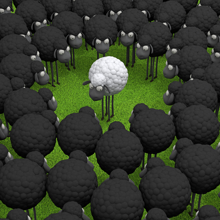 One white sheep standing out from the crowd, leadership, difference concept