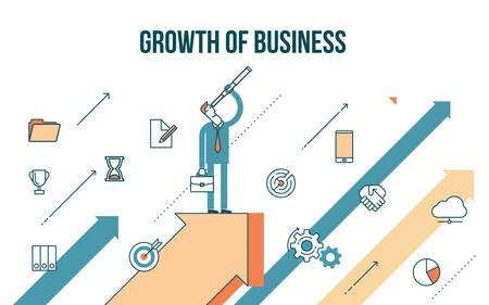 rises: Flat line design style modern illustration of a business concept, businessman rises on the arrow graph growth