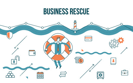 Flat line design style modern illustration of a business concept,  escape the financial crisis
