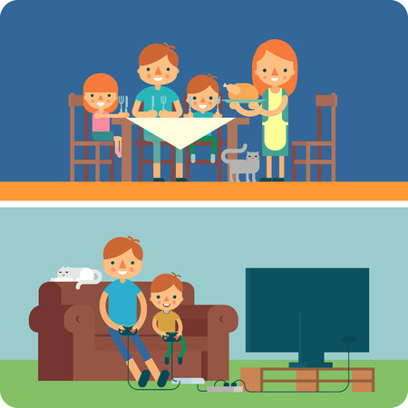 meetup: Family reunion vector flat illustration. Family dinner. Father and and son playing video game.