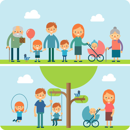 family reunion: Rest in the park  flat vector illustration. Big family reunion outdoor