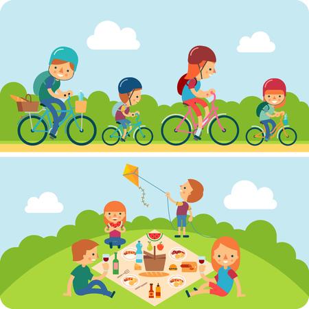 Een vector illustratie van een gelukkige familie op de fiets en met een picknick in het park Vector Illustratie