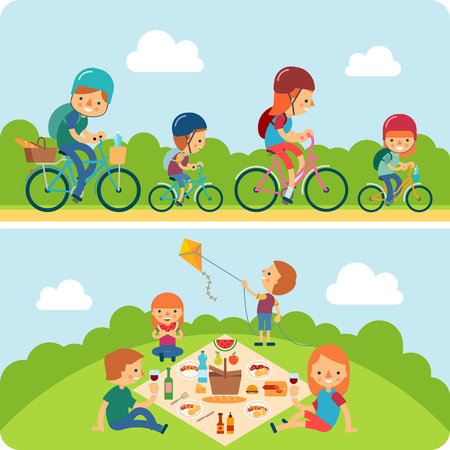 A vector illustration of a happy family riding a bike and having a picnic in the park