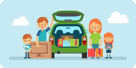 shopping family: happy family with shopping bags near car vector flat illustration Illustration
