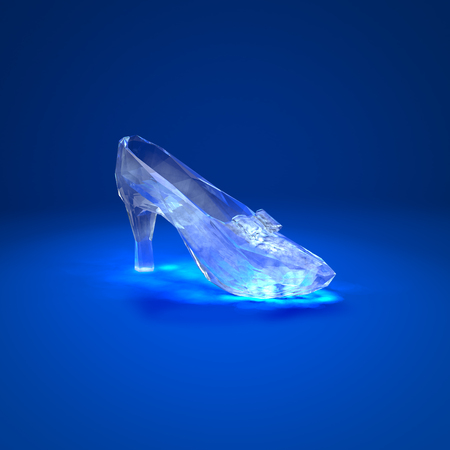 Cinderella glass slipper on the red pillow side view