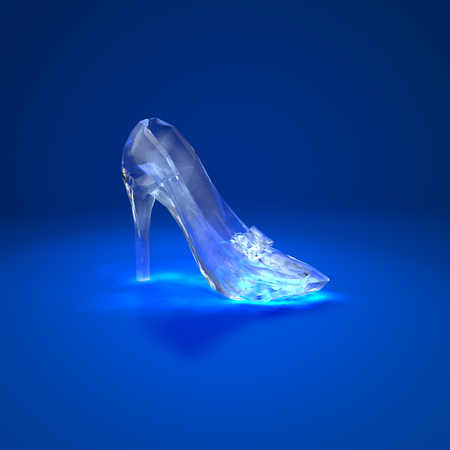 Cinderella crystal slipper on dark blue background side view