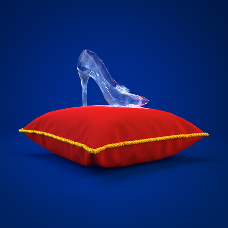 lady slipper: Cinderella glass slipper on the red pillow side view