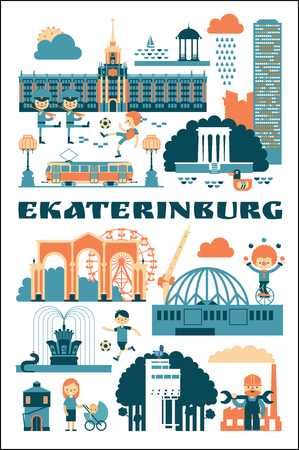 Ekaterinburg, Russia. Vector illustration of city sights