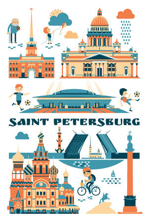 Saint-Petersburg, Russia. Vector illustration of city sights Reklamní fotografie - 103747707