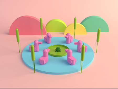 3d rendering ducks and frog minimal
