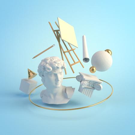 Art Renaissance and education concept 3d render Reklamní fotografie