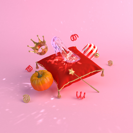 Fairy tale Cinderella concept on background 3d render