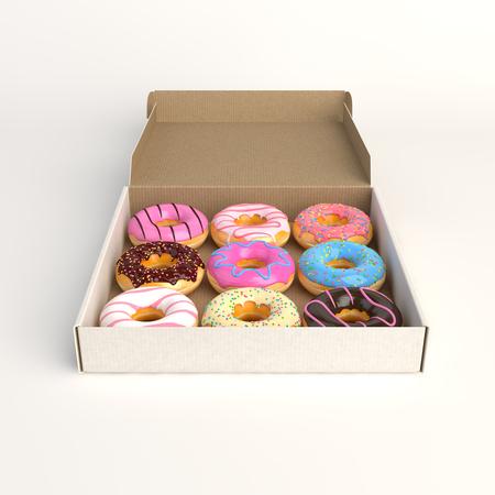 Donut box isolated on white background 3d-illustration