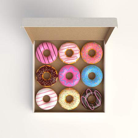 Donut box isolated on white background 3d-illustration top view Reklamní fotografie