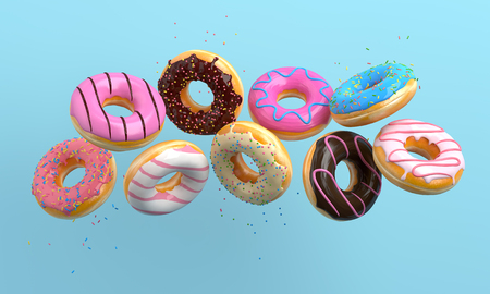 Various decorated donuts in motion falling on blue background. Sweet and colourful doughnuts falling or flying in motion. 3d-illustration. 免版税图像