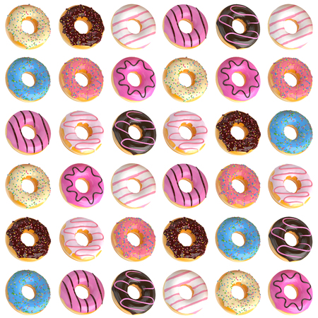 Set of cartoon colorful donuts pattern on white background. Donuts pattern into glaze for menu design, cafe decoration, delivery box. 3d-illustration.