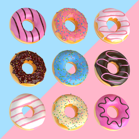 Set of cartoon colorful donuts isolated on blue and pink background. Donuts collection into glaze for menu design, cafe decoration, delivery box. 3d-illustration. Reklamní fotografie