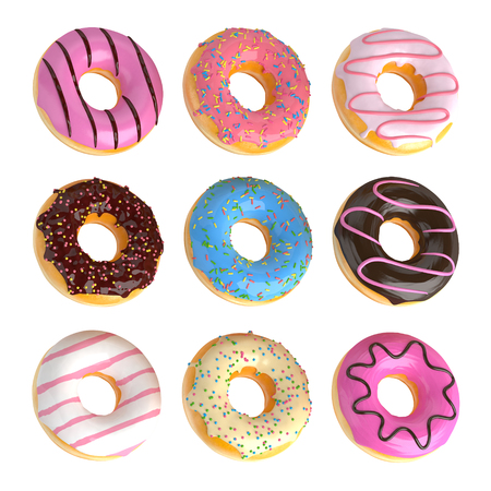 Set of cartoon colorful donuts isolated on white background. Doughnuts collection into glaze for menu design, cafe decoration, delivery box. 3d-illustration.