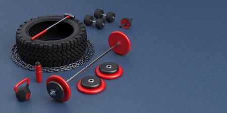 Fitness equipment in gym. Tire, sledgehammer, weight, dumbbell, bottle, bar, chain. 3d-illustration.