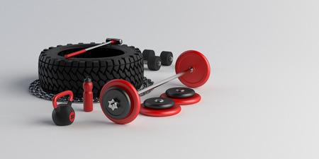 Fitness equipment in gym on white background. Tire, sledgehammer, weight, dumbbell, bottle, bar, chain. 3d-illustration. Reklamní fotografie