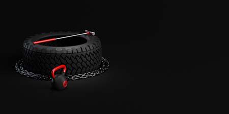Gym equipment tire, sledgehammer, weight on black background. 3d-illustration.