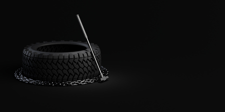 3d-illustration workout training equipment tire, chain and sledgehammer on black background.