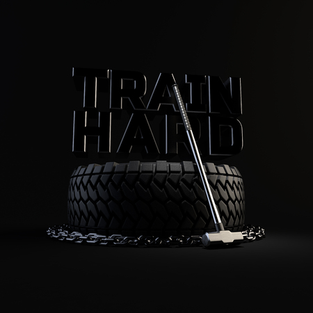 3d-illustration workout training equipment tire, chain and sledgehammer on black background. Inscription TRAIN HARD on the background