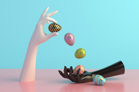 3d render, female hands, minimal fashion background, mannequin body parts with easter eggs Reklamní fotografie