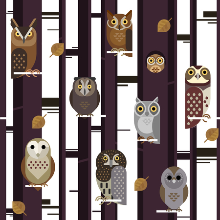 Vector seamless pattern with cute owls, leaves, forest trees illustration