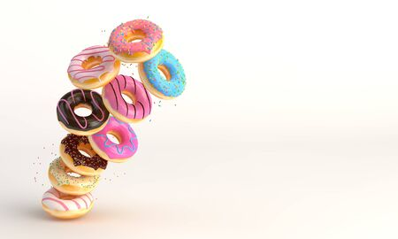 Donuts in motion falling on white background. Sweet and colourful doughnuts falling or flying in motion. 3d-illustration.