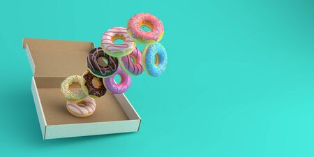 Donut box falling or flying in motion on mint background with copy space 3d-illustration