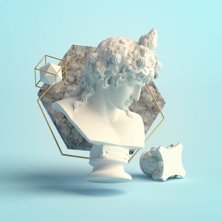 3d-illustration of an abstract composition of Dionysus sculpture and primitive objects
