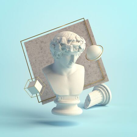 3d-illustration of an abstract composition of Antinous sculpture and primitive objects