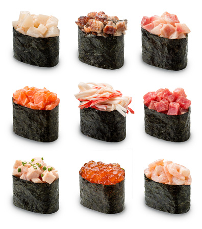 Gunkan Sushi set on a white background. Isolated