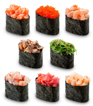 Gunkan Sushi set on a white background. Isolated