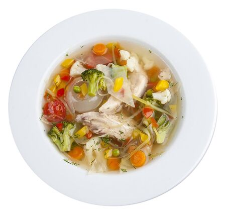 Vegetable soup with chicken. On a white background