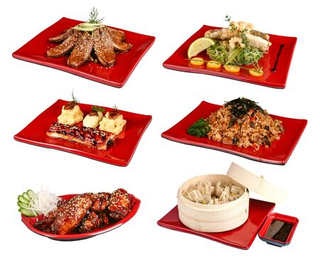 A set of traditional Japanese dishes. On a white background
