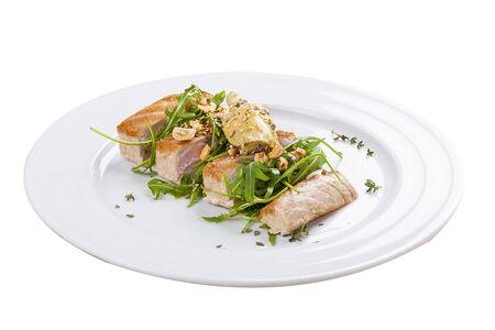 Tuna steak on a white background Stock Photo