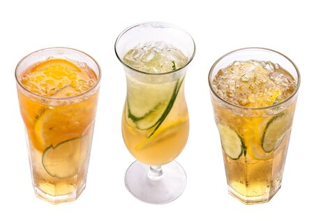 Radler. Beer cocktail with juice. Glasses on a white background Stockfoto