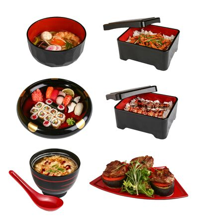 A set of traditional Japanese dishes. On a white background Stock Photo - 128766411