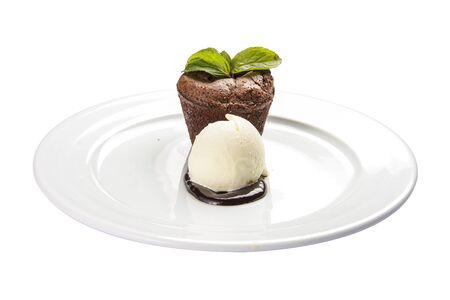Chocolate fondant on a white background