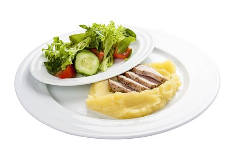 Baked pork with mashed potatoes. On a white background